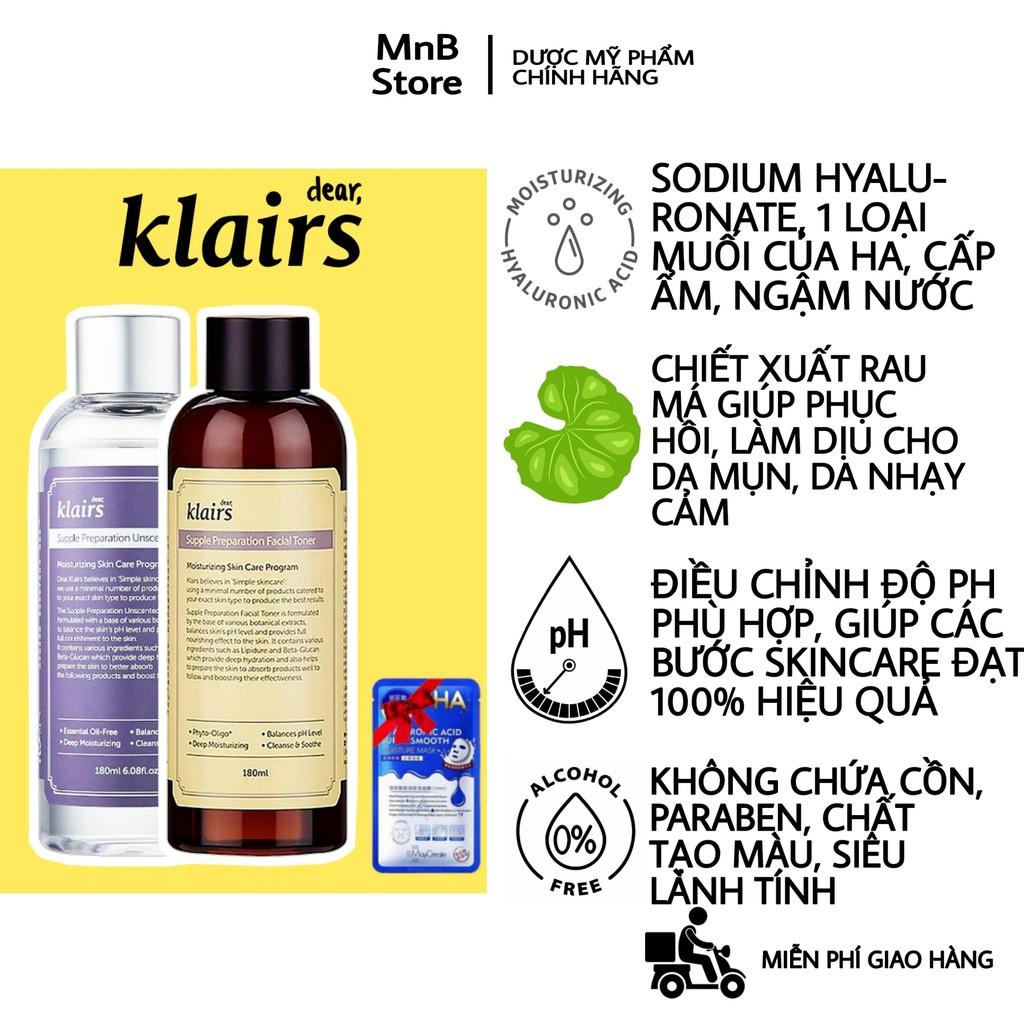 Nước Hoa Hồng Klairs Supple Preparation Toner không cồn, không hương liệu, không mùi 180ml - MnB Store