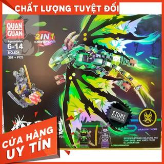 [HOT]Lego Lắp Ráp Robot Rồng Bay NinjaGo 2 in 1 – Quan Guan 634 ( Xanh Lá – 307 Mảnh )-Hàng có sẵn