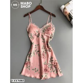 Váy ngủ lụa in hoa VAYN003 cao cấp có mút ngực