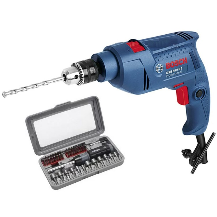 Máy khoan động lực Bosch GSB 550 và bộ dụng cụ 46 chi tiết (màu xanh)