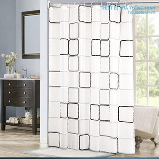 Rèm nhà tắm chống thấm nước họa tiết vuông giá rẻ