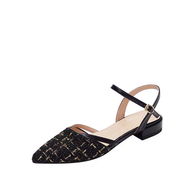 Sandal quai hậu vải dạ kim tuyến