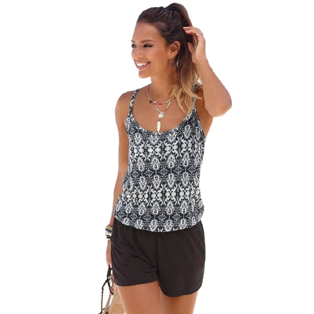 Bodysuit Sleeveless Elegant Rompers Fabala Holiday Mini Summer Short Plus Size Beach Sun Dress Print Playsuits Jumpsuit