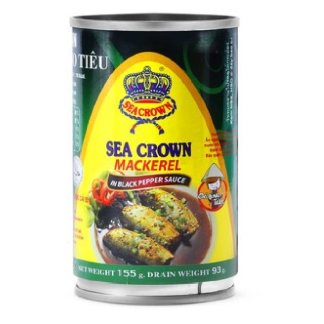 Bộ 6 lon Cá nục kho tiêu Sea Crown 155g