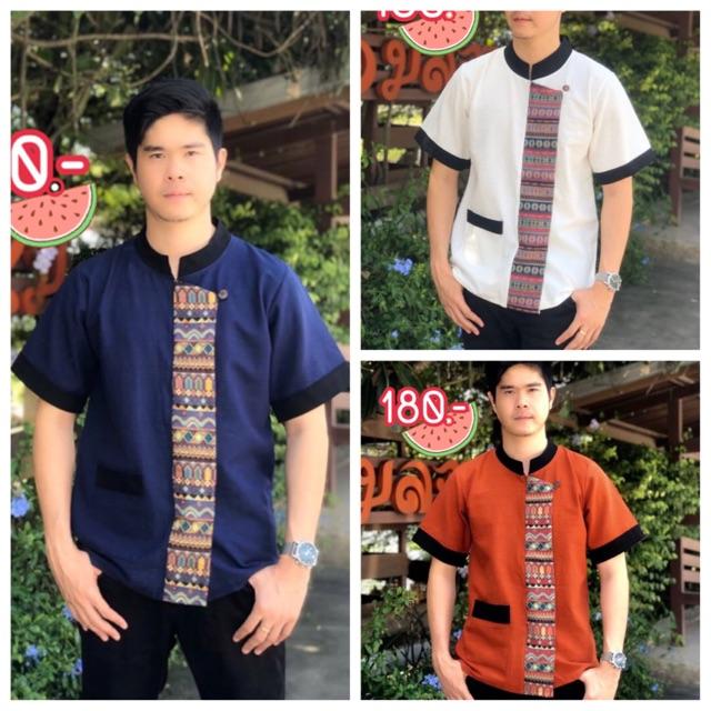 Pandy_Shop เสื้อพื้นเมืองผู้ชายคอจีน