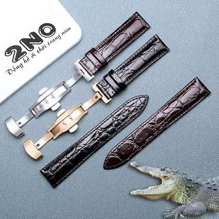 Dây da đồng hồ nam, da cá sấu vân tự nhiên hai mặt, không thấm hút mồ hôi - D2018