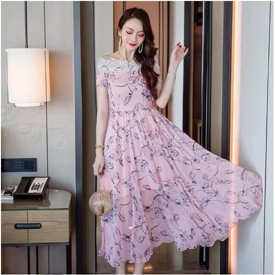 Đầm Maxi Hoa Trễ Vai Dễ Thương