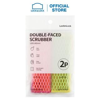 Miếng rửa chén bát hai mặt Lock & Lock 2pcs - Màu hồng vàng ETM156 thumbnail