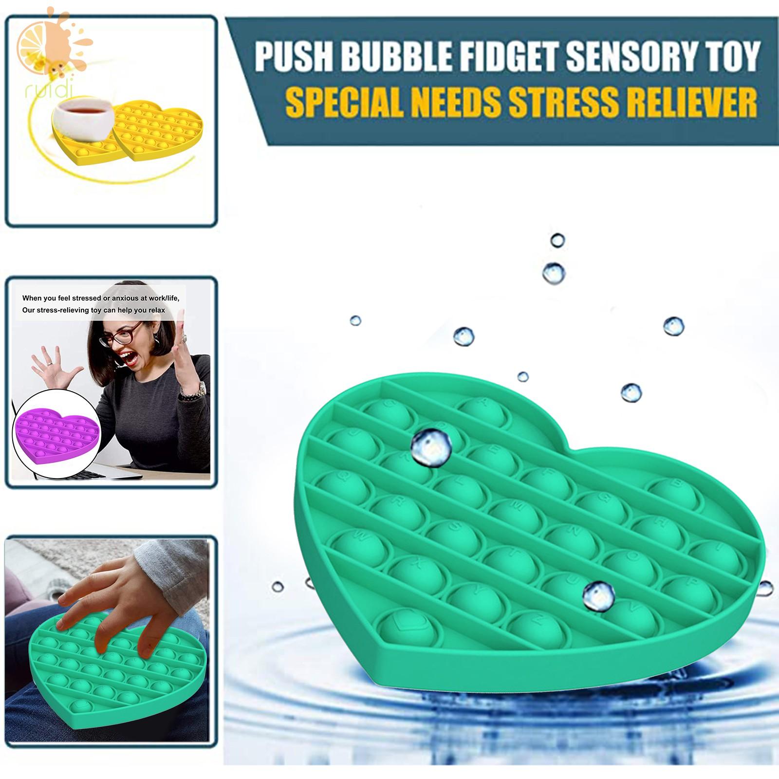 Push Pop Bubble Fidget Sensory Toy Stress Reliever Heat Shape Toy for Adult Kid