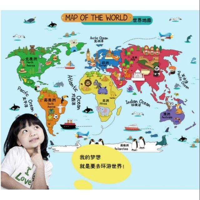 decal dán tường hình bản đồ map of the world
