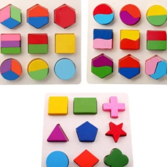 Bộ 3 bảng gỗ hình học cho bé – Đồ chơi phát triển tư duy