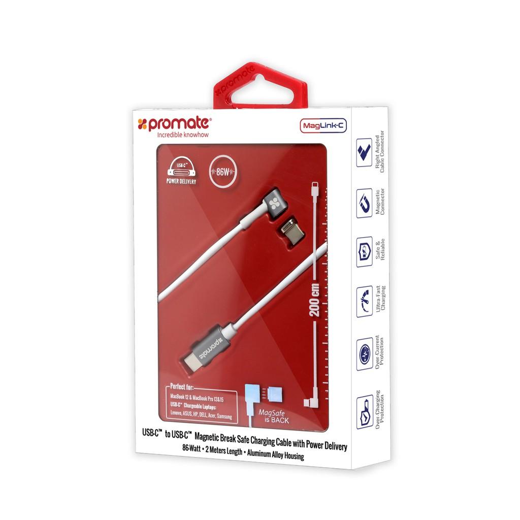 Cáp chuyển đổi Promate MagLink-C USB-C sang Type-C bẻ góc 90 độ 86W dây 2m (Trắng)