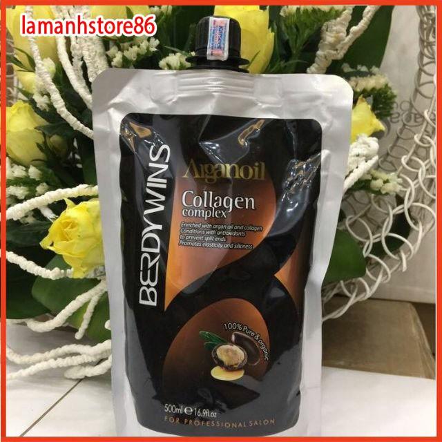 Ủ toc phục hồi tóc kem ủ hấp tóc BERDYWINS ARGAN OIL  hương thơm nước hoa ủ tóc tại nhà hiệu quả - túi 500ml