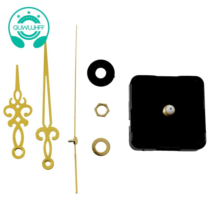 Bộ máy đồng hồ thạch anh màu đen kèm kim đồng hồ màu vàng đồng dùng để tự làm đồng hồ