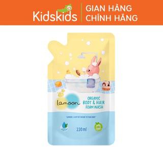 Sữa tắm gội Organic cho bé dạng bọt Lamoon - Túi 220ml