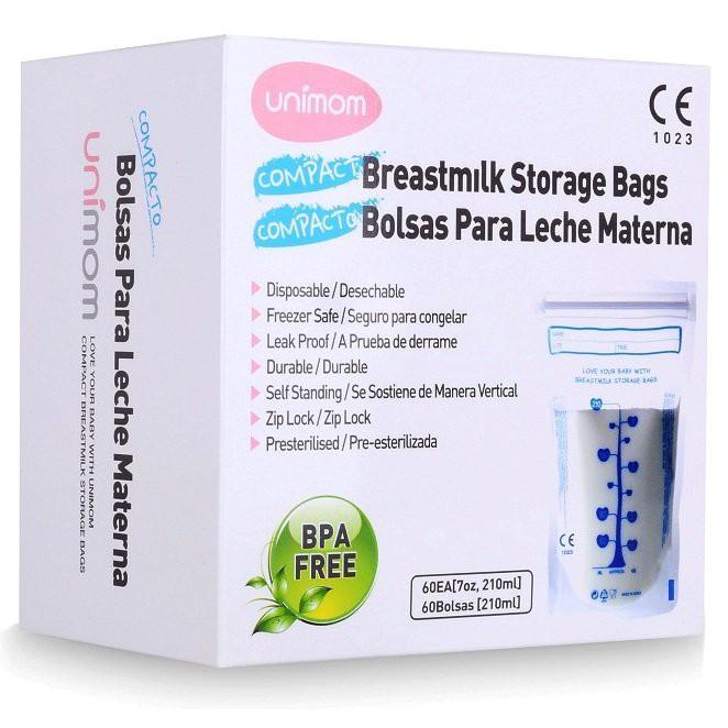 Hộp 60 túi trữ sữa mẹ UM870268- Unimom compact không BPA 210ml Hàn quốc