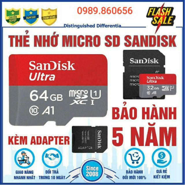 Thẻ nhớ Micro SD SanDick Ultra 64GB/32GB chuyên dụng cho điện thoại, máy tính bảng, camera IP