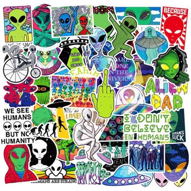 Sticker chống nước Aliens người ngoài hành tinh trang trí