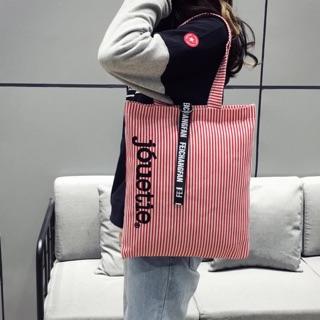 Túi tote vải đeo vai kẻ sọc tinh tế cách điệu Hàn Quốc - Túi vải nữ