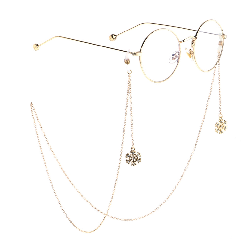 MIHAN1 Reading Glasses Christmas Gifts Antlers Pearl Snowflake Metal Christmas Glasses Chain