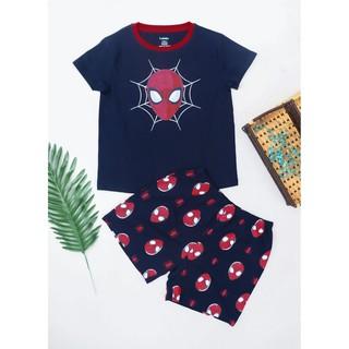 [Cotton cao cấp – Quần áo trẻ em] Đồ bộ ngắn bé trai hình siêu nhân mặt to size 12 – 40kg