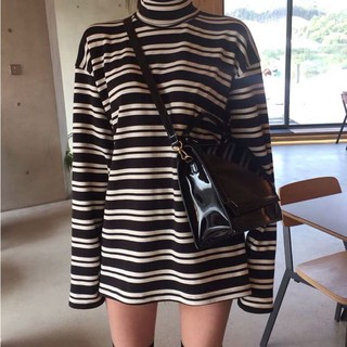 ~Spring high collar pullover loose thin stripes in the long