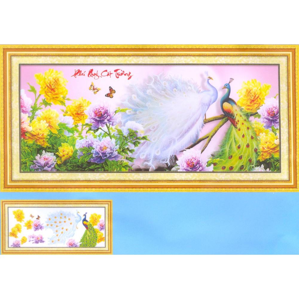 Tranh thêu chữ thập kết hạt đá và bướm nhựa Phú Quý Cát Tường