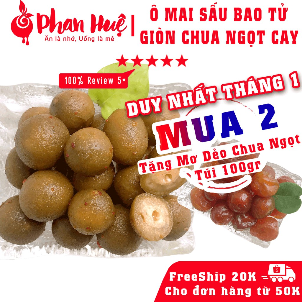 Ô mai xí muội sấu bao tử giòn chua ngọt cay Phan Huệ đặc biệt, sấu non miền Bắc chọn lọc, đặc sản Hà Nội