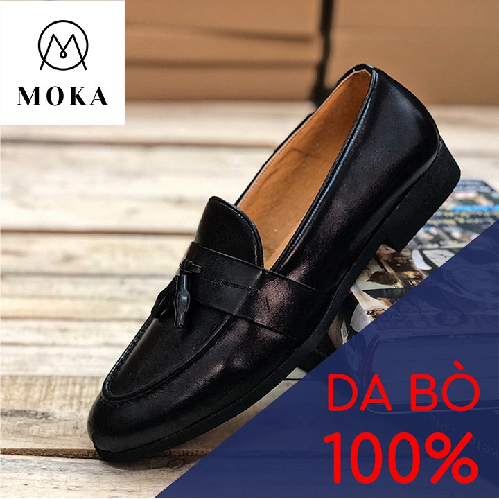 Moka – Giày lười nam công sở da bóng có chuông màu đen, da bò thật 100%, đế cao su đúc bền bỉ Mã GD01