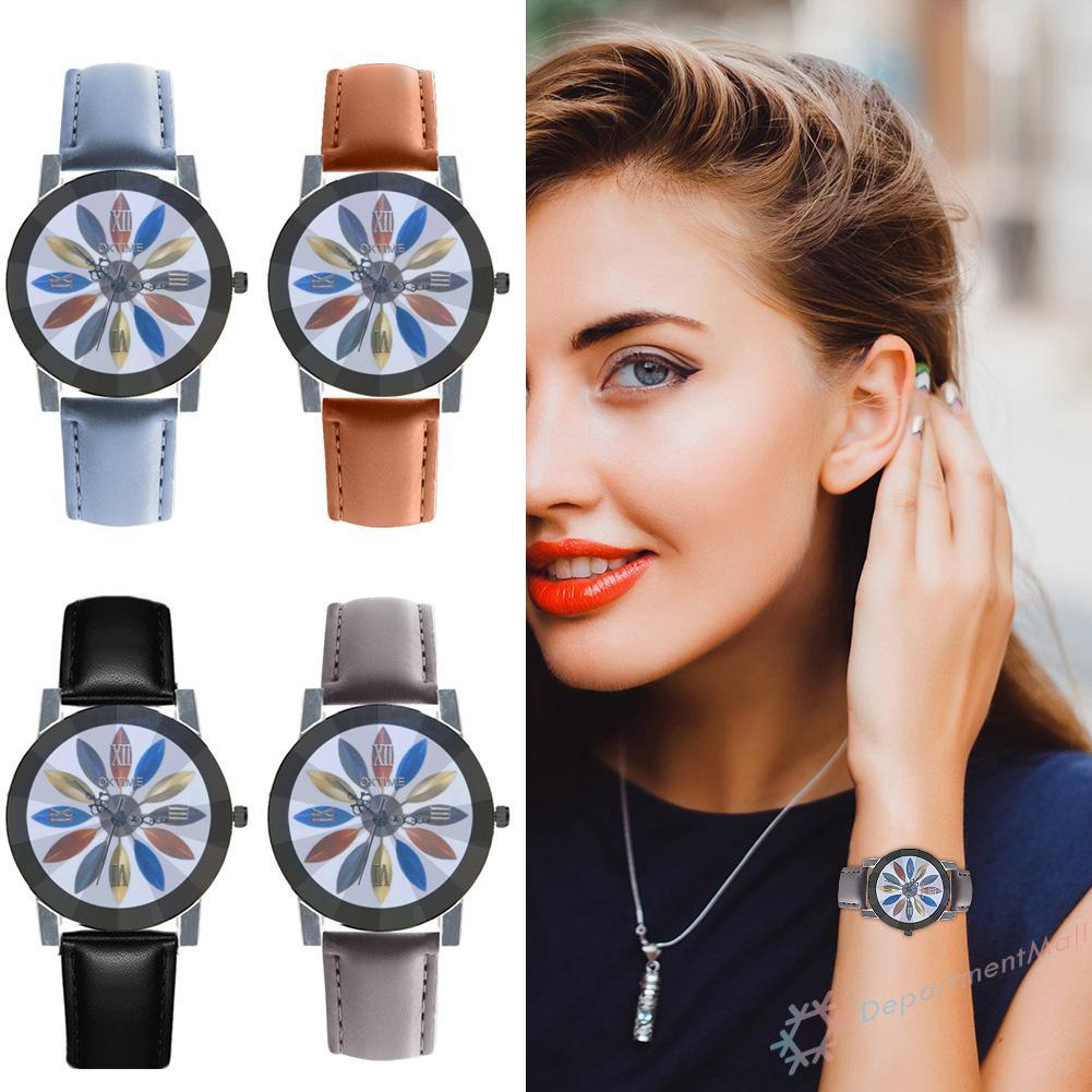 Sport Leather Strap Quartz Watch Simple Unisex Round Dial Analog Wristwatch