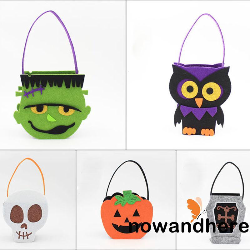 NEN-New Smile Face Pumpkin Bag Halloween Children Gift Candy Collection Handbag