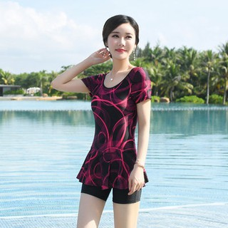 Hot spring conjoined flat corner swimsuit female size mother swimsuit thin middle-aged and elderly short sleeve Conserva