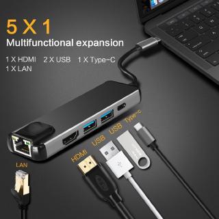 Bộ Chuyển Đổi Usb 3.1 Sang Hdmi 1080p 4k 5 Trong 1 Usbx2 3.0 Type-c Cho Macbook Chromebook Laptop