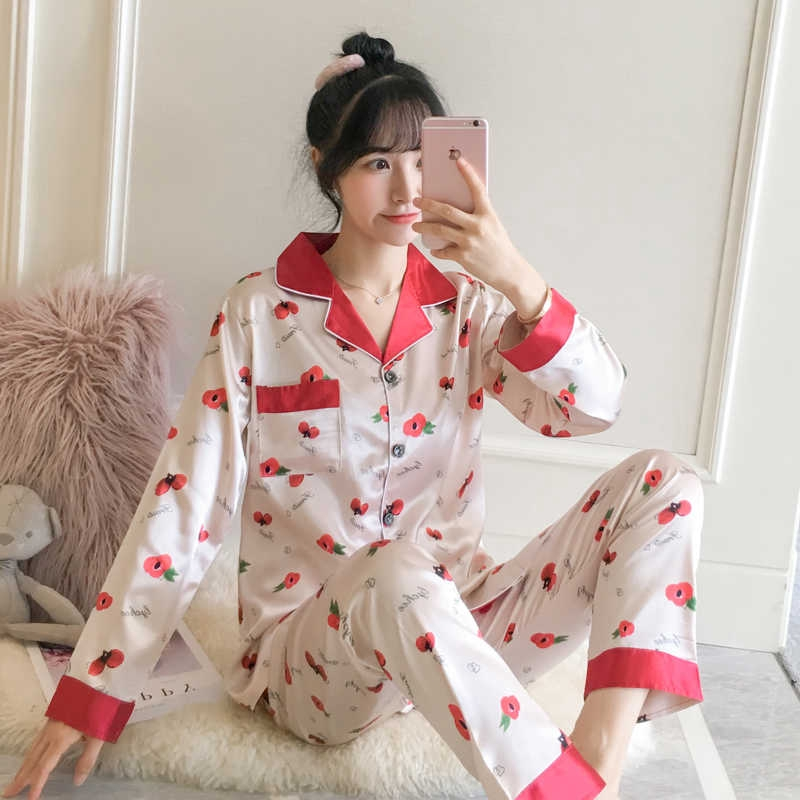Lady's Sleep Shirt Pj Satin Silk Nighties Cute Lychee Print Sleepwear Lightweight Nightwear Turn-down Collar Pajamas