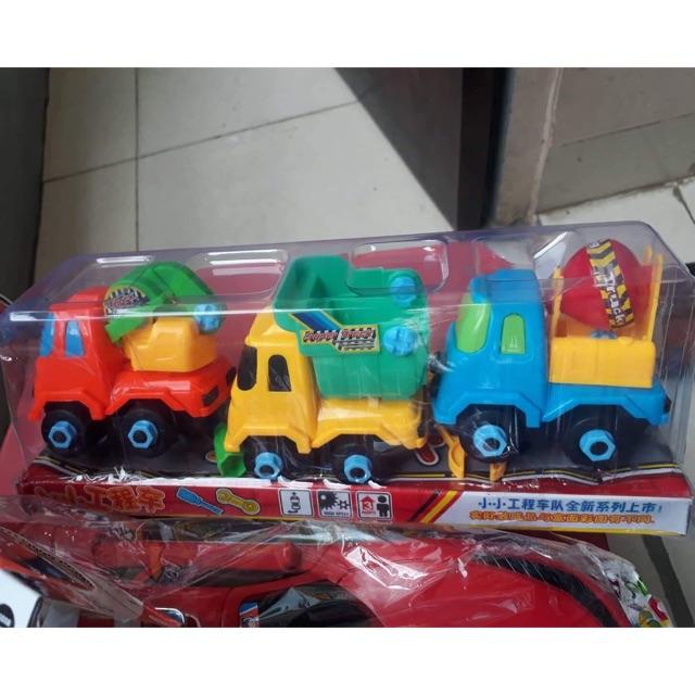 Bộ 3 ô tô tải máy xúc