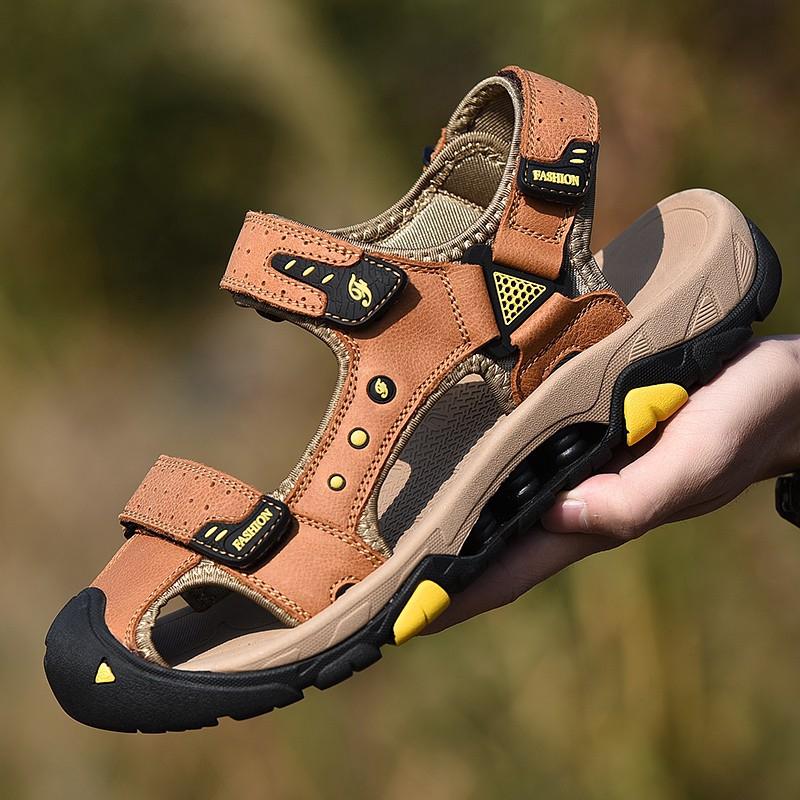 Dép sandal da bít mũi dây khóa dán thời trang cho nam