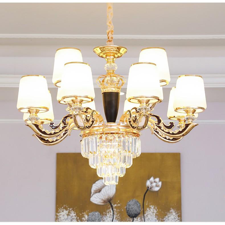 Đèn chùm MONSKY HINN pha lê 12 tay trang trí nhà cửa hiện đại - kèm bóng Led chuyên dụng