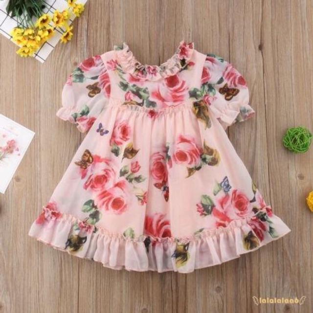 Váy voan hoa hồng tay nhún cho bé gái