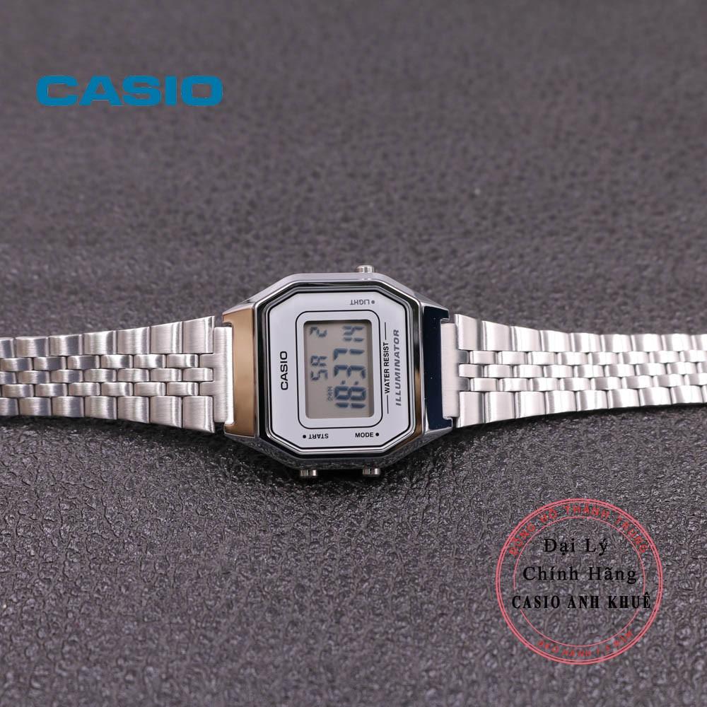 Đồng hồ điện tử nữ Casio Vintage LA680WA-7DF dây kim loại