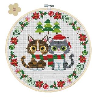 MIAON DIY Part Embroidery Christmas Cats Print 11CT Cross Stitch Kits Home Decor