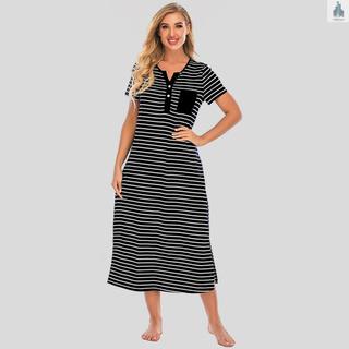 Women Nightgowns Lounging Dress Striped Short Sleeve Soft Loose Full Length Casual Sleepwear Nightdress