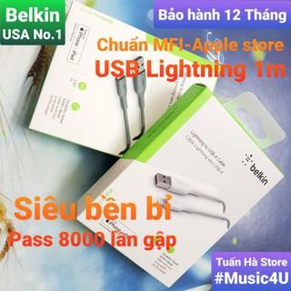 [Mã ELFLASH5 giảm 20K đơn 50K] Cáp sạc nhanh Lightning Belkin 1m cho Iphone/Ipad/Airpods, chuẩn MFI, siêu bền [Music4U]