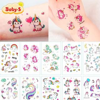 Hình xăm Unicorn dán chống nước nhiều màu sắc xinh yêu lung linh cho bé yêu thỏa thích vui chơi Baby-S SST007 thumbnail