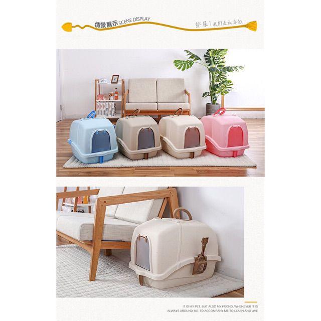 Nhà vệ sinh dành cho mèo dạng kín có quai xách