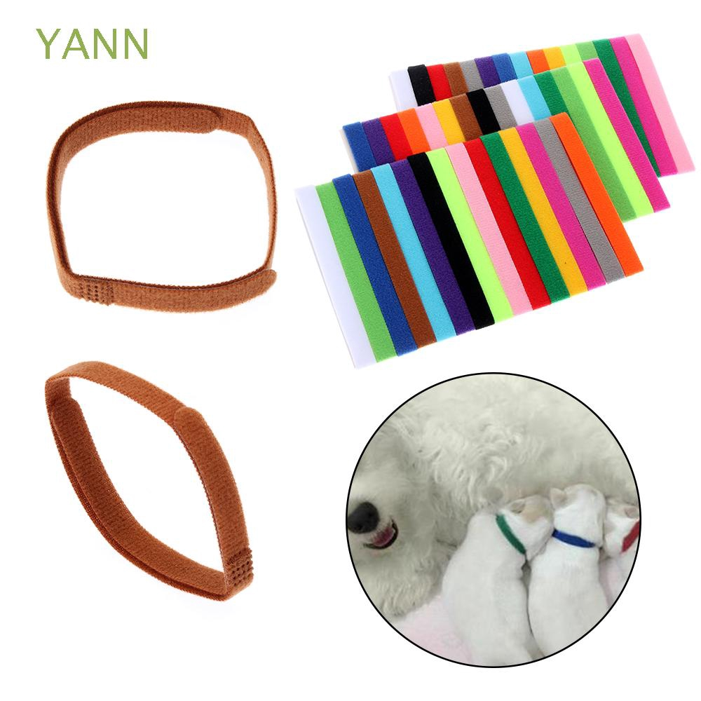 YANN 15PCS Reusable Practical Nylon Dog Cat Velvet Identification ID Collars