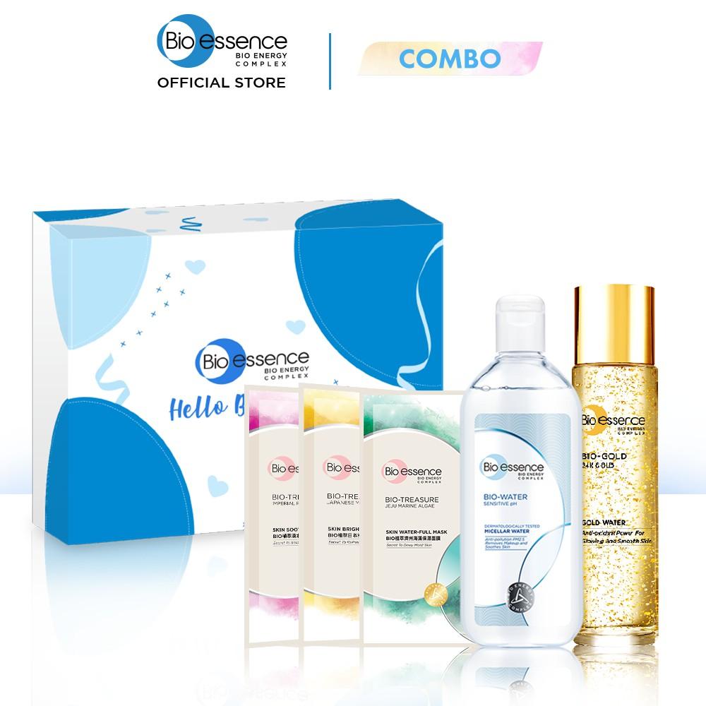 Bộ sản phẩm Bio-Essence (Nước dưỡng Bio-Gold 150ml + 3 mặt nạ Yuzu, Jeju, mẫu đơn 20ml/cái + Tẩy trang 100ml)