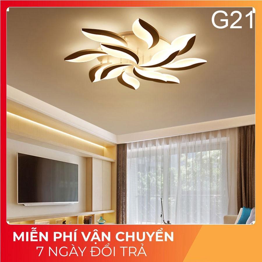 Đèn ốp trần phòng khách, Đèn LED trang trí G21, 3 chế độ sáng có điều khiển tăng chỉnh ánh sáng