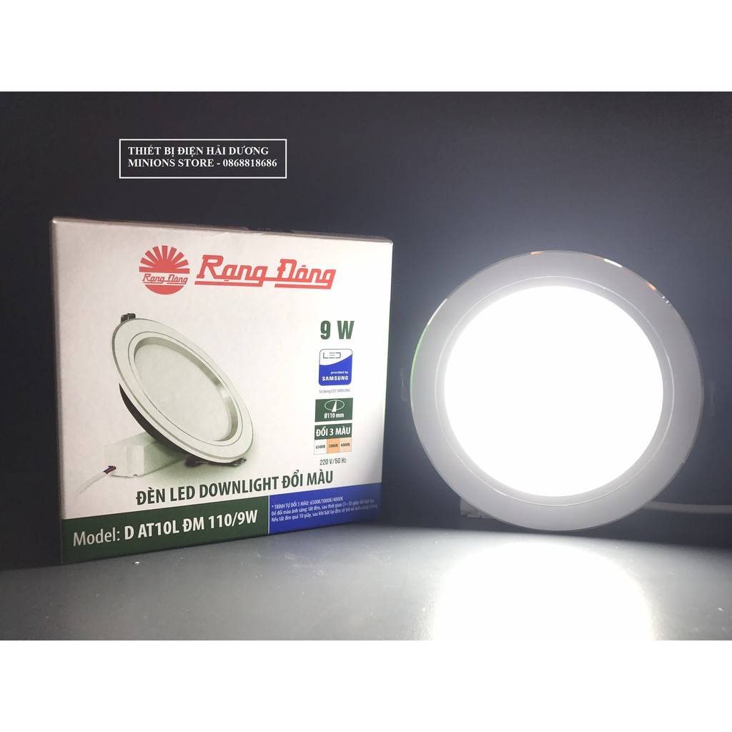 Đèn LED Downlight Âm Trần 3 chế độ Rạng Đông D AT08L ĐM 110/9W (Viền Bạc / Viền Vàng)