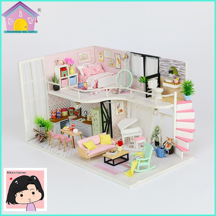 """Mô Hình Nhà Gỗ DIY """"Ngôi nhà màu hồng của Anna"""""""