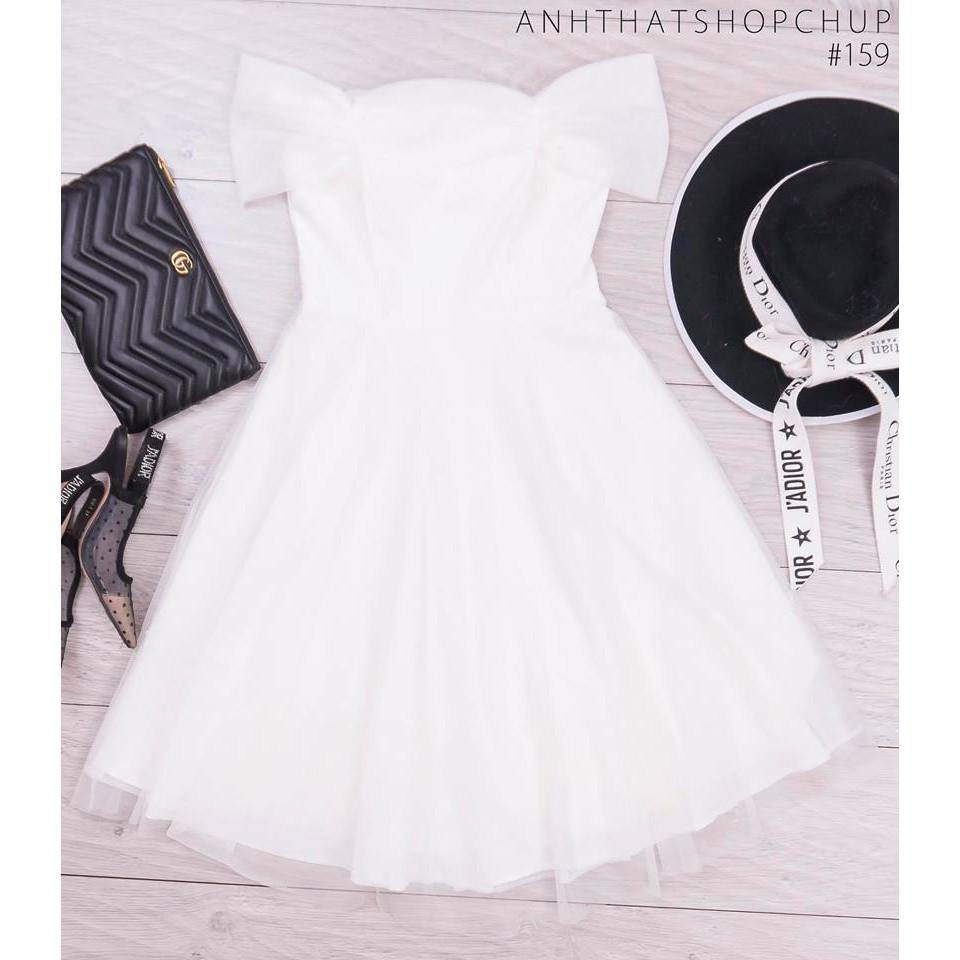 Mặc gì đẹp: Sang chảnh với ĐẦM DỰ TIỆC ĐẦM TRẮNG TRỄ VAI XÒE PHỐI LƯỚI MINER DRESS SANG TRỌNG DỄ THƯƠNG